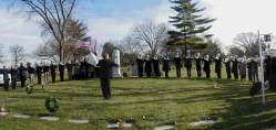 Panorama-style picture of the Royal Airs Drum and Bugle Corp ceremony for the OLA fire victims at Queen of Heaven Cemetery on December 7, 2003. (Photo courtesy of Serge Uccetta)