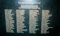 The names of those who died as a result of the fire are inscribed on the memorial.  (photo by Tom Margherone