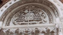 This is a close up of the carvings above the left main entrance to the church. (Photo courtesy of Renee Jackson)