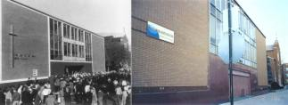 The new Our Lady of the Angels school at it's dedication in 1960 (left) and as it appears today (right).  (Right photo courtesy of Chris Turek