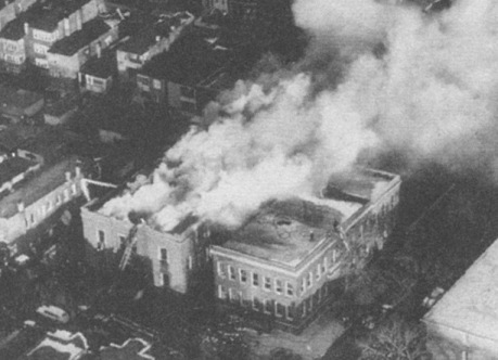 Overhead view of Our Lady of the Angels school at the height of the fire